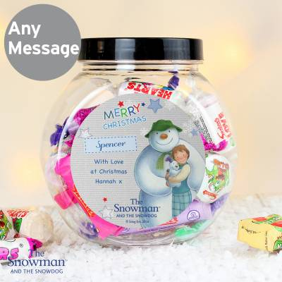 Personalised Snowman and Snowdog Sweet Jar