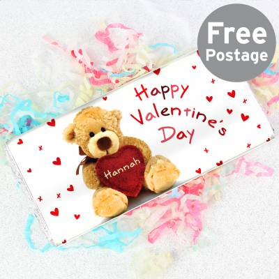 Personalised Teddy Heart Chocolate Bar