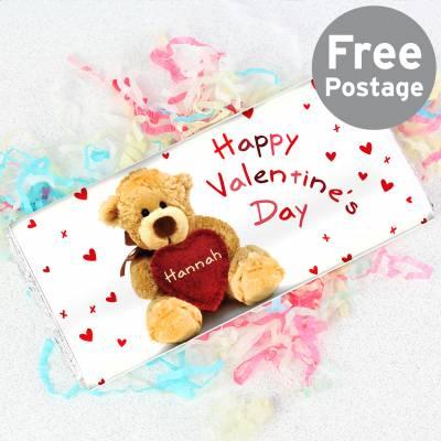 Personalised Teddy Heart Chocolate Bar