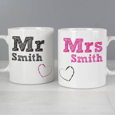 Personalised Mr Mrs Mug Set