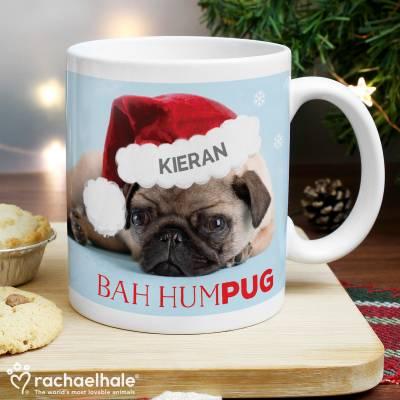 Personalised Rachael Hale Christmas Bah Hum Pug Mug