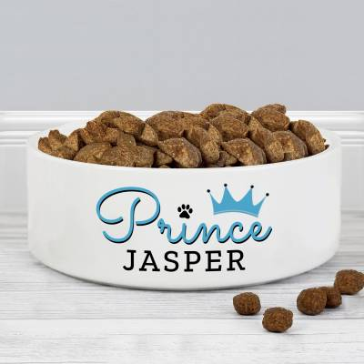 Personalised 'Prince' 14cm Medium Ceramic White Pet Bowl