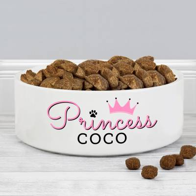 Personalised 'Princess' 14cm Medium Ceramic White Pet Bowl