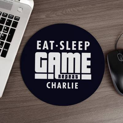 Personalised Eat Sleep Game Repeat Mouse Mat