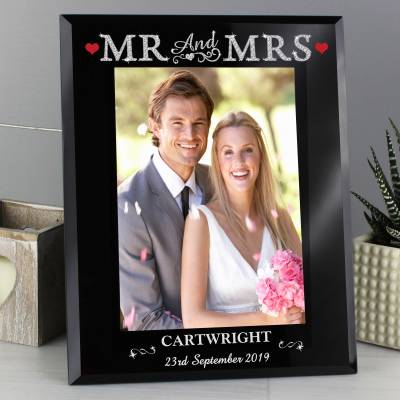 Bling Mr & Mrs Black Glass 5x7 Frame