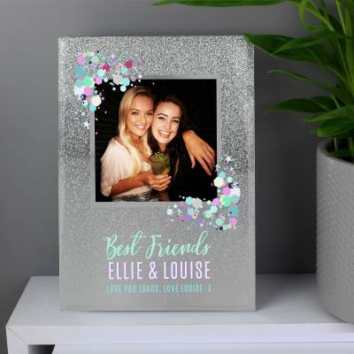 Personalised Festival Style 4x4 Glitter Glass Photo Frame