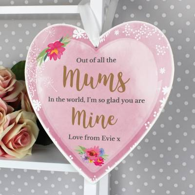 Click to view product details and reviews for Personalised Floral Watercolour 22cm Large Wooden Heart Decoration.