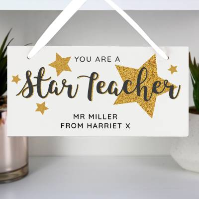 "Personalised """"You Are A Star Teacher"""" Wooden Sign"
