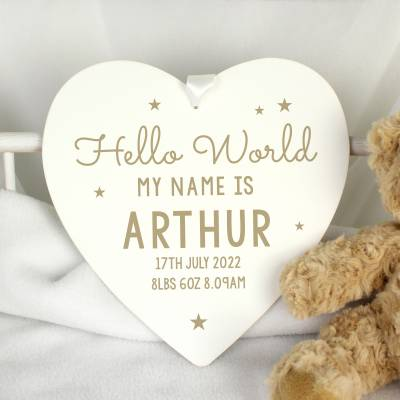 Personalised Hello World Wooden Heart Decoration