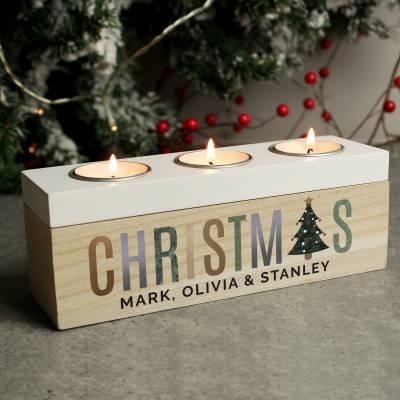 Personalised Christmas Tree Triple Tea Light Box