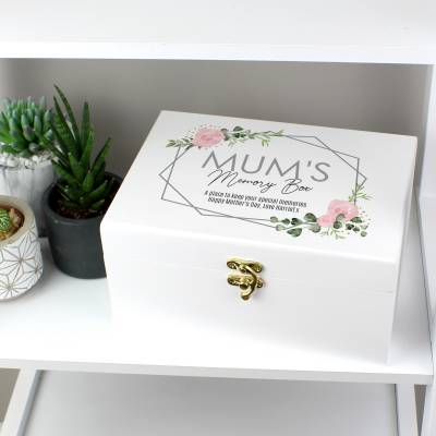 Personalised Abstract Rose White Wooden Keepsake Box - Funkyhampers Gifts