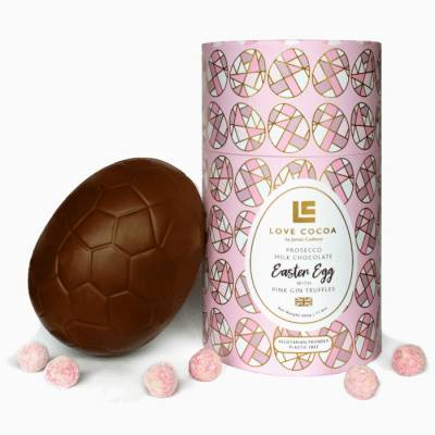 Giant Luxury Prosecco Chocolate Egg with Pink Gin Truffles