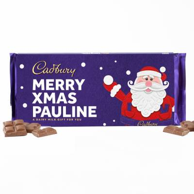 Personalised Santa Design 360g Cadbury Dairy Milk Bar