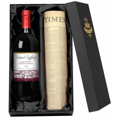 Personalised Red Wine and Newspaper Gift
