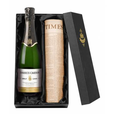 Personalised Cava and Newspaper Gift Set