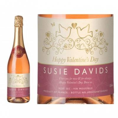 Personalised Valentine Sparkling Rose Wine In A Gold Gift Box