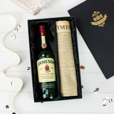 Jameson Irish Whiskey and Original Newspaper