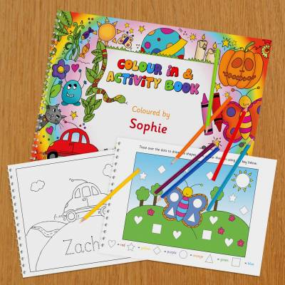 Personalised Colour In and Activity Book A4