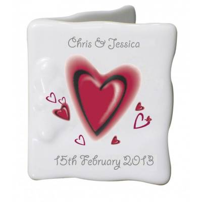 Personalised Hearts Bone China Message Card