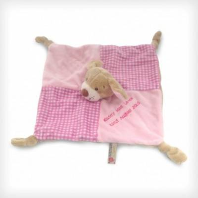 Personalised 28cm Pink Puppy Baby's First Blanket