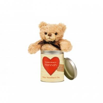 Personalised Romantic Teddy in a Tin