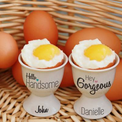 Personalised Hey Gorgeous His and Hers Egg Cups