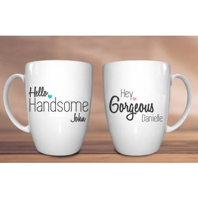 Personalised Hey Gorgeous His and Hers Mugs