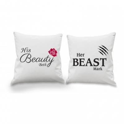 Personalised Her Beast His Beauty Cushion Cover Set - Anniversary Gifts