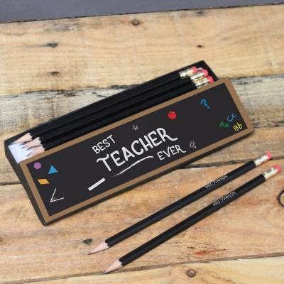 Personalised Best Teacher Pencil Box and Pencils