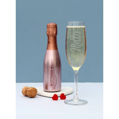 Personalised Rose Prosecco and Flute