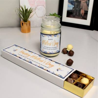 Personalised Mother's Day Candle and Chocolates