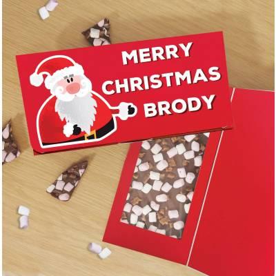 Personalised Merry Christmas Santa Chocolate Card