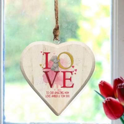 Personalised Me To You Love Hanging Wooden Heart - Funkyhampers Gifts