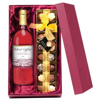 Personalised Rose Wine and Chocolates