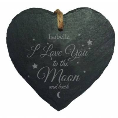 Personalised To The Moon & Back Hanging Heart Slate