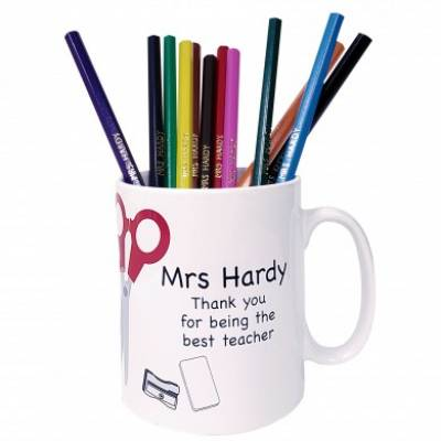 Personalised Teacher Mug with Personalised Pencils