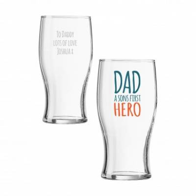 Personalised First Hero Pint Glass