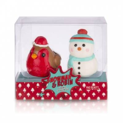 Snowman And Robin Lip Balm Set - Robin Gifts