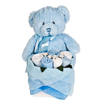 Blue Teddy Bouquet Box