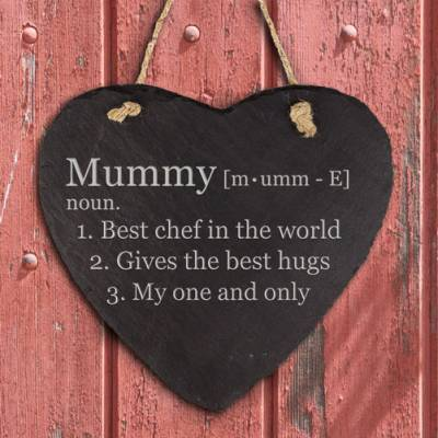 Personalised Definition Of Mummy Heart Hanging Slate