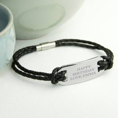 Personalised Mens Statement Leather Bracelet in Black