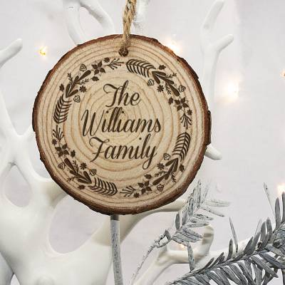 Personalised Engraved Family Christmas Tree Decoration