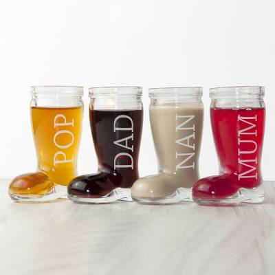 Personalised Set of 4 Santa Boots Shot Glasses