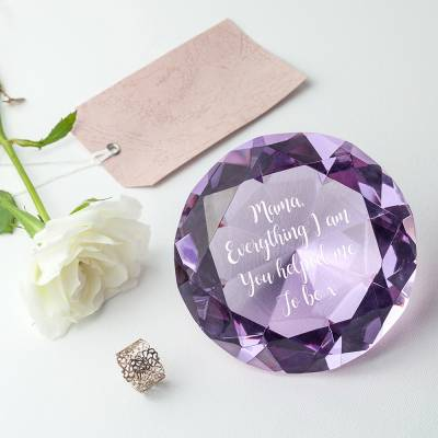 Personalised Violet Diamond Paper Weight
