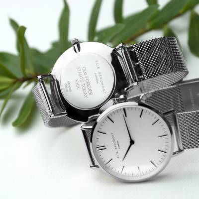 Personalised Metallic Mesh Strapped Watch