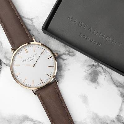 Men's Modern-Vintage Personalised Leather Strap Watch