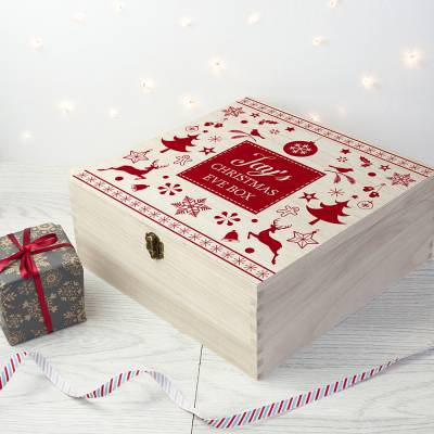 Personalised Festive Print Christmas Eve Box