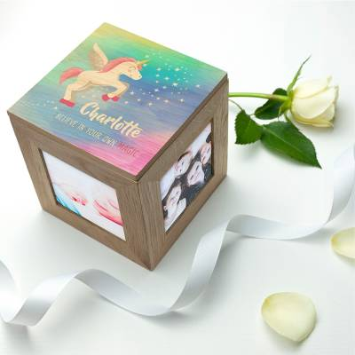 Personalised Unicorn Photo Cube