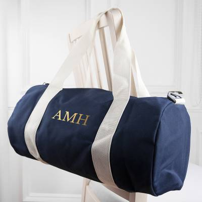 Personalised Blue Barrel Gym Bag