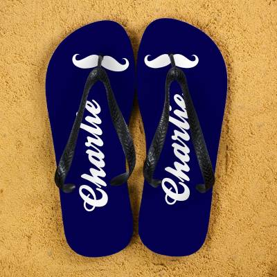Personalised Moustache Flip Flops